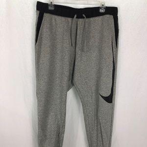 Nike Men L Gray Black Joggers Elastic Waist